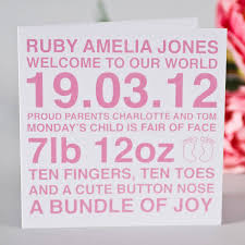 baby girl cards personalised new baby boy girl card by megan