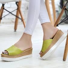 Comfortable Stylish Heels Concise Comfortable Women Slides High Heels Slipper Flat Platform