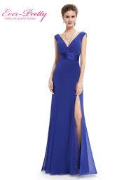 long royal blue prom dress women pleat v neck empire chiffon