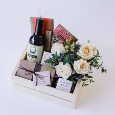 wine chocolate wine chocolate gift box with flowers delivery in santa
