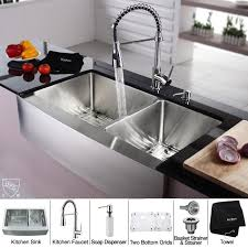 Kitchen Faucet With Soap Dispenser by Kraus Khf203 36 Kpf1612 Ksd30ch 36 Inch Farmhouse Double Bowl
