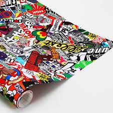 jdm sticker bomb 150x50cm cartoon sticker bomb wrap trackfraction