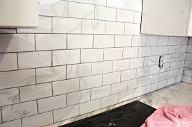 White Backsplash Kitchen Interior Grouting The Subway Tile Backsplash Subway Tile