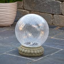 Hanging Gazing Ball Crackled Glass Solar Chameleon Gazing Ball With Table Top Base