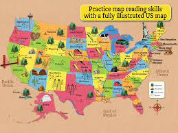 Maps Of The Us Illustrated Map Of The Us Can Be Used As A Reference In The Game