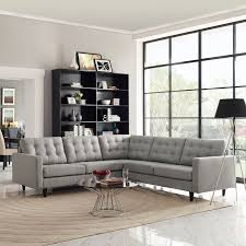 modway empress 3 piece fabric sectional sofa set in light gray