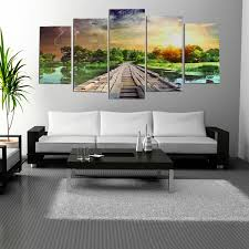 5pcs modern art printing lake landscape poster canvas painting