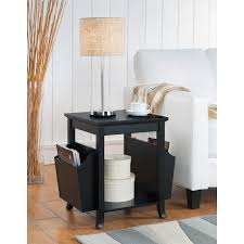 end table with shelves reed black wood contemporary side end table with magazine rack