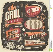retro grill menu design template stock vector image 57631147