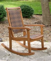 All Weather Wicker Resin Wicker U0026 Eucalyptus Rocking Chair Brown