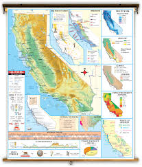 State Map Of California by California State Thematic Classroom Map On Spring Roller From