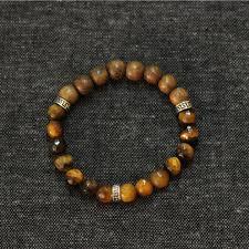 fashion beaded bracelet images Tiger eye stone wood beads mens bracelet men 925 sterling jpg