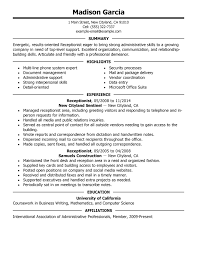 exles of work resumes work resume template receptionist administration office support