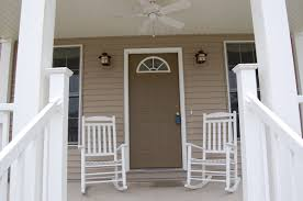 Chairs For Front Porch Decorations Ritzy White Wooden Rocking Chairs Added Ceiling Fan