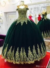 emerald green ball gown prom dresses 2017 off shoulder gold lace