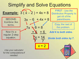 simplify and solve equations