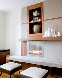 fireplace storage mantle and buildout with ventless fireplace and
