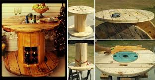 outdoor tables made out of wooden wire spools wire spool repurposed into a wine table home design garden