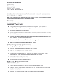 Resume Examples Warehouse by Warehouse Specialist 2 Objective For Worker Sample Resume