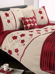 Cream Bedding And Curtains Red Floral Duvet Cover Roselawnlutheran Regarding Brilliant