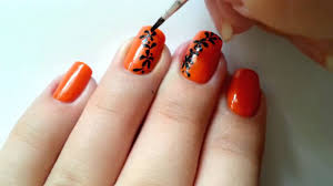 Bright Orange Paint by Spring Nail Design With Orange Paint Simple Bright Manicure Youtube