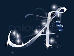 decorative letter with decorations for design stock