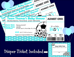 baby shower sports invitations soccer baby shower ticket invitation matching diaper raffle ticket