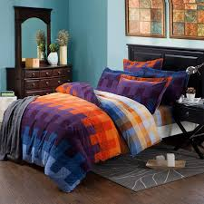 blue and orange bedding royal blue purple and orange tartan plaid full queen size modern