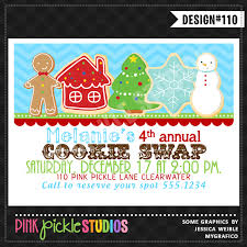 christmas cookie exchange personalized party invitation