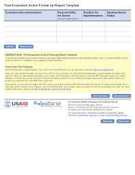 monitoring visit report template post evaluation follow up report project starter usaid