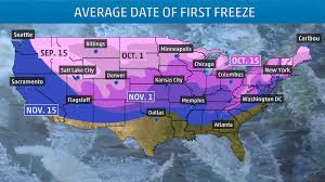 New England Weather Map by A Handy Guide To When Your First Freeze Typically Arrives The