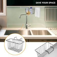 kitchen sink cabinet sponge holder sponge holder weguard 304 stainless steel multifunctional sponge holder for kitchen sink cabby hanging basket silver