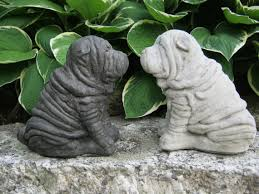 sharpei statue concrete by westwindhomegarden on etsy 24 95