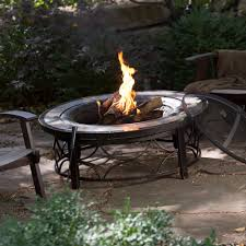 wood burn fire pit slate table top steel base dome spark screen