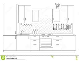 Floor Plan Front View by Architectural Sketch Interior Small Kitchen Front View Stock