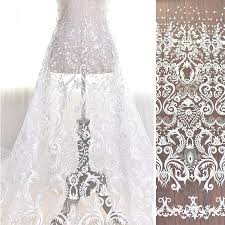 wedding dress material white vintage glitter fabric embroidery lace wedding dress
