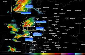 Doppler Radar Map Overview Of Splitting And Merging Storms In North Texas On March