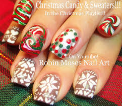 diy christmas sweater nail art xmas drag marble candy nail
