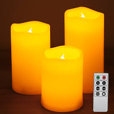 3 yellow led flameless candles with remote timer le