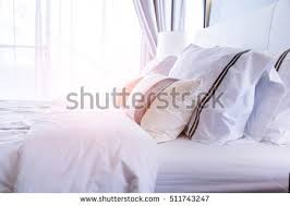 bed maidup clean white pillows bed stock photo 515308861