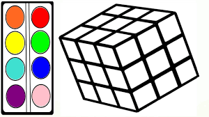 coloring rubik u0027s cube drawing pages to color for kids youtube