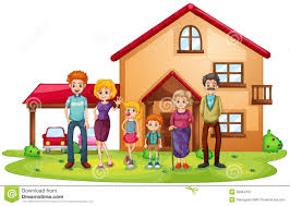 a big family in front of a big house stock vector image 39024702