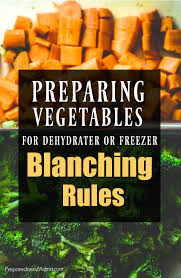 preparing vegetables for dehydrator or freezer blanching rules