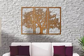 3 panel wood wall tree of 3d cherry finish 3 panel wood wall wall s