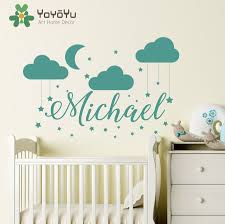 popular baby wall murals buy cheap baby wall murals lots from name wall decal baby nursery custom name bedroom clouds moon decor wall sticker diy children decoration