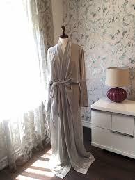 Full Length Bathrobe Fancy Chic Lounge Housecoat In Silver Silk Velour Kimono Style