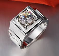 engagement ring for men stunning genuine jewelry 1ct synthetic diamonds ring men