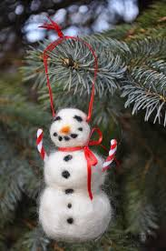 candy cane snowman needle felted wool chistmas ornament with red