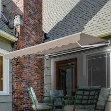 Retractable Waterproof Awnings Outsunny 10 U0027x8 U0027 Manual Retractable Waterproof Sun Shade Patio