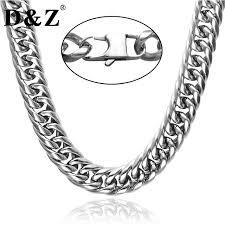 titanium curb chain necklace images D z silver color titanium stainless steel 24 inch cuban miami link jpg